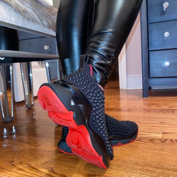 Christian Louboutin black spike sock sneakers 37